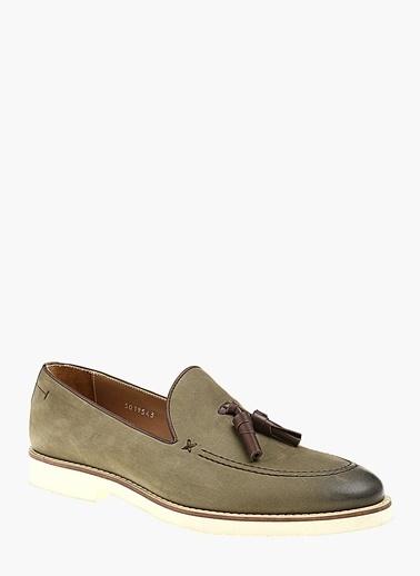 Divarese %100 Deri Loafer Ayakkabı Haki